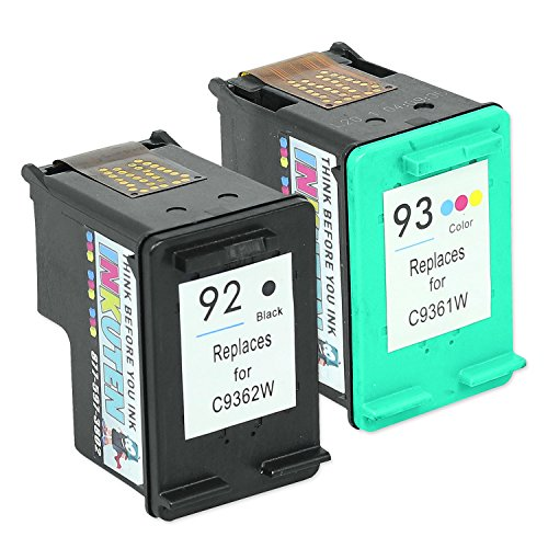 INKUTEN Remanufactured Ink Cartridge Replacement For Hewlett Packard HP 92 93 C9362WN C9361WN C9513FN (1 Black, 1 Tri-Color) 2-Pack (C9362wn Black Ink)