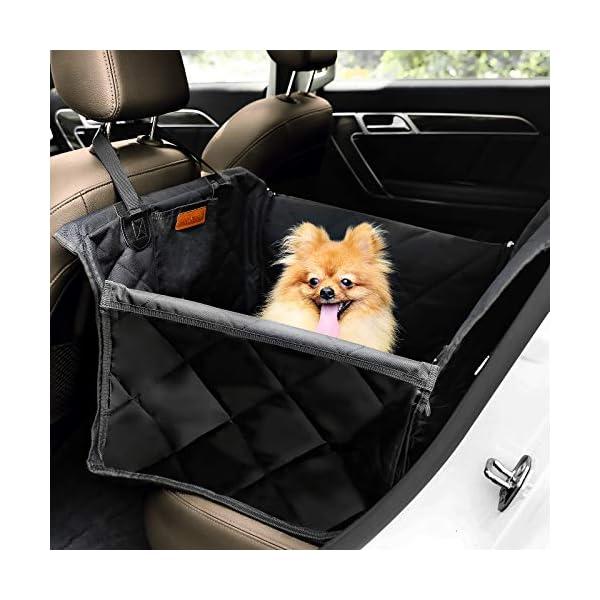 51a65GZMONL Looxmeer Hunde Autositz für Kleine Mittlere Hunde, Hundesitz Auto Autositzbezug mit Sicherheitsgurt und Verstärkter…
