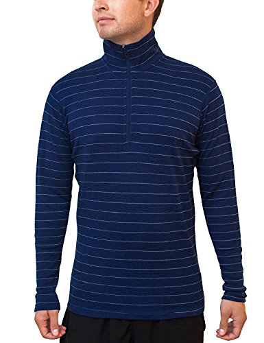 Woolx Men's Explorer 1/4 Zip Midweight Merino Wool Base Layer Top , Iceberg Navy, Small (Merino Wool Zip Top)
