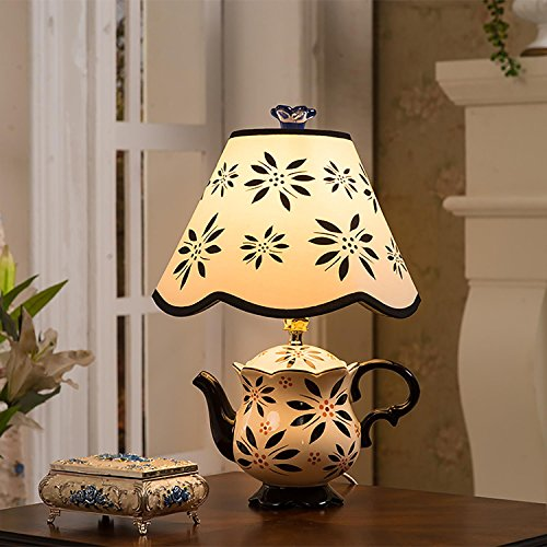Creative Ceramic Table Lamp Teapot Shape with Fabric Shade for Bedroom Living Room Decoration, Deep ()