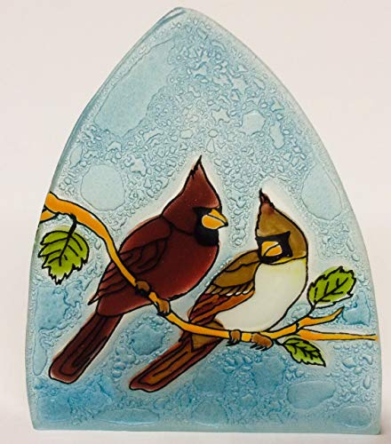 - Cardinal Couple Art Glass Night Light