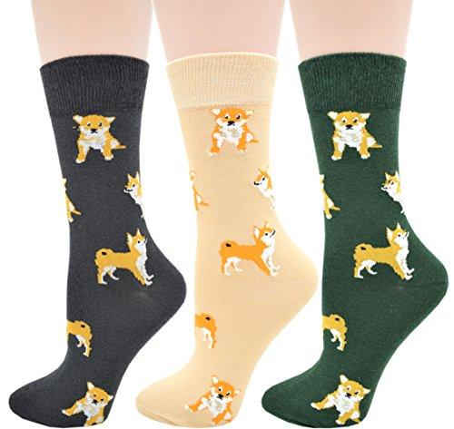 Carahere Women's Cotton Animal Print Patterned Soft Fun Crew Socks (DOG-3Pairs.) ()