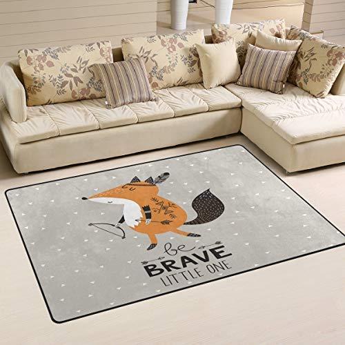 WOZO Brave Cute Fox Arrow Area Rug Rugs Non-Slip Floor Mat Doormats Living Room Bedroom 60 x 39 inches