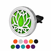 DIB Car Air Freshener Aromatherapy Essential Oil Diffuser Lotus Stainless Steel 38MM Locket,10 Refill Pads
