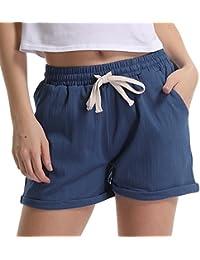 Women's Elastic Waist Cotton Linen Casual Beach Shorts with Drawstring