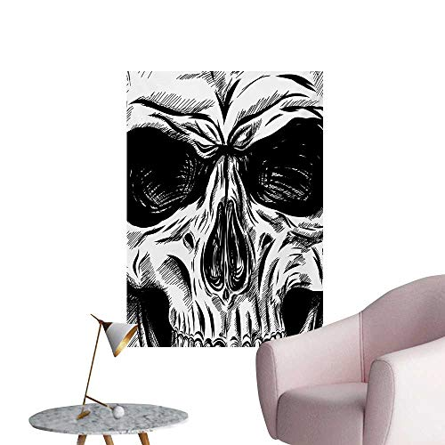 Halloween Wall Paper Gothic Dead Skull Face Close Up Sketch Evil Anatomy Skeleton Artsy IllustrationBlack White W32 xL36 Cool Poster -