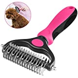 WU CHUNLING Pet Dematting Combs, Safety's 2 Sided Professional Grooming Rake - Removing Loose Undercoat, Tangles, Mats and Knots - Brushing and Deshedding