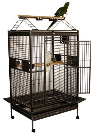 Mahalo Manor – Two Top Options Bird Cage – Blue – Dome Top, My Pet Supplies