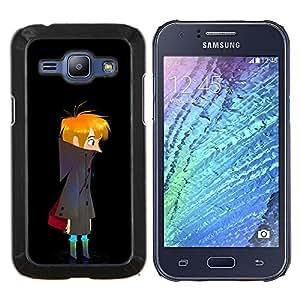 Stuss Case / Funda Carcasa protectora - Noche Oscura Boy Arte Dibujo errante solitario - Samsung Galaxy J1 J100