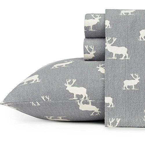 Eddie Bauer 216297 Elk Grove Flannel Sheet Set, Queen, Gray