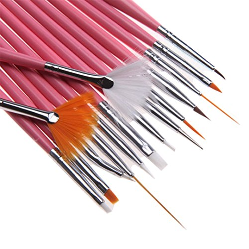 WEIHUALI 15 Pcs/Set Nail Art Decorations Brush Tools fessional Nail Art Brushes Painting Pen For False Nail Tips UV Nail Gel Polish by WEIHUALI