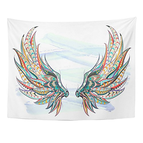 Emvency Tapestry Watercolor Patterned Wings on The Grunge African Indian Totem Tattoo Design It May Be Used of and So Home Decor Wall Hanging for Living Room Bedroom Dorm 60x80 ()