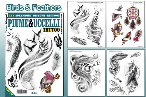 Birds & Feathers Design 64-page Tattoo Flash Book (Personal Tattoo Design)
