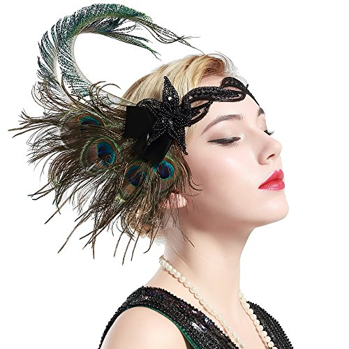 BABEYOND 1920s Flapper Gatsby Headband Roaring 20s Sequined Showgirl - Gatsby Collection