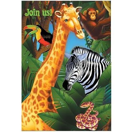 amazon com safari party invitations 8ct toys games