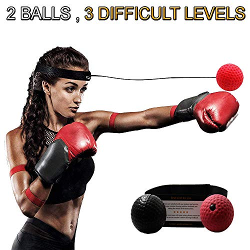 Boxing Reflex Ball - Boxer Ball To Improve Speed With Reaction Training - Boxing Gym Equipment For Training & Fitness - Portable & Lightweight Perfect for Men & Women - 2 Balls Included