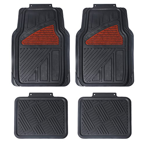 Maggift Rubber Floor Mats, for Car, SUVs, Vans & Trucks, Front and Back Heavy Duty Rubber Car Mats, 4pc, Black