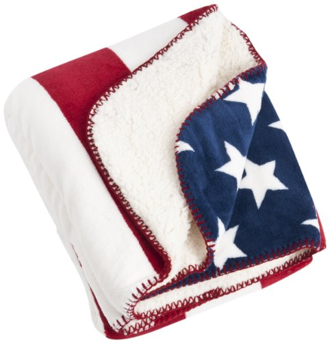 """SARO LIFESTYLE TH704.R5060 Patriotic US Flag and Sherpa Throw, Red, 50""""x60"""" delicate"""