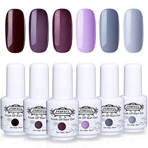 Art System Nail (Perfect Summer Gel Nail Polish Kit - 6 Colors Gel Varnish Soak Off UV LED Manicure Home Gel Manicure Nail Art System 8ML 117)