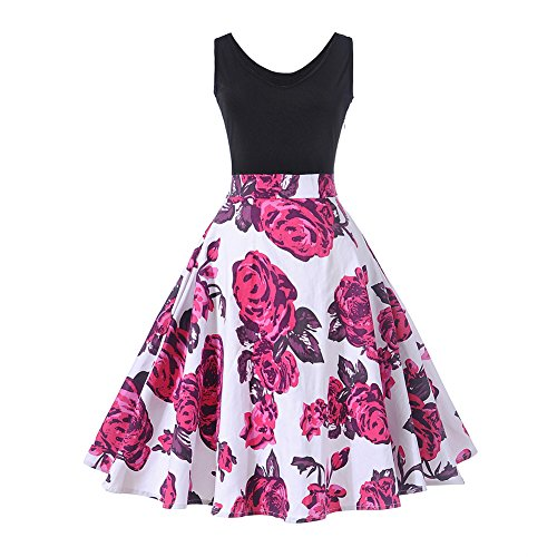 HUHHRRY Vintage Classy Floral Sleeveless Party Picnic Party Cocktail Dress