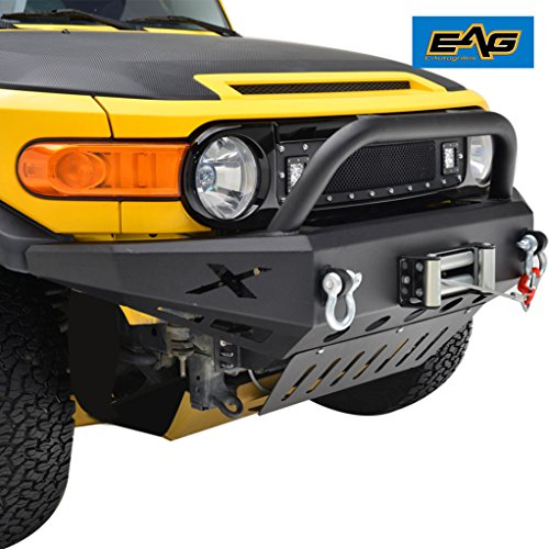 (EAG 07-14 Toyota FJ Cruiser Front Bumper with Pre Runner Hoop Grille Guard & Winch Plate)