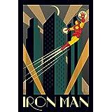 Posters: Iron Man Poster - Marvel Comics, Art Deco (36 x 24 inches)