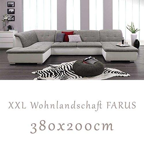 Wohnlandschaft Couchgarnitur Xxl Sofa U Form Weiss Grau Ottomane