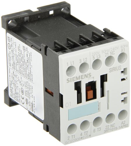 Siemens 3RT10 15-1AP62 Motor Contactor, 3 Poles, Screw Terminals, S00 Frame Size, 1 NC Auxiliary Contact, 240V at 60Hz and 220V at 50Hz AC Coil Voltage Voltage