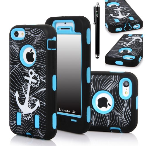 iPhone 5C Case, E LV heavy Duty Rugged Dual Layer Hybrid Armor Defender Case Cover for iPhone 5C with 1 Screen Protector, 1 Stylus and 1 Microfiber - ANCHOR BLUE