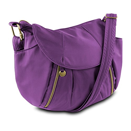 Travelon Anti-Theft Front Zip Hobo Bag with RFID Protection, Plum from Travelon