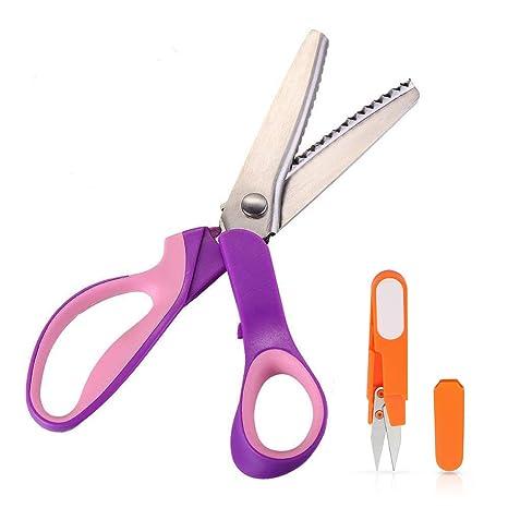 JTENG Tijeras dentadas de Corte y Confección de Calidad Professional tijera Zig Zag de acero inoxidable 23,5 cm de agarre cómodo para confección ...