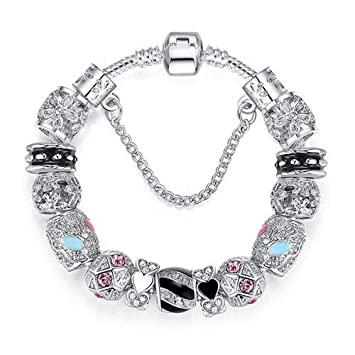 Silver 925 Crystal Four Leaf Clover Clear Beads Charm Bracelet Bangle For Women PS3149 19cm