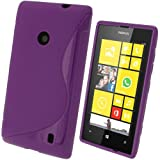 iGadgitz S Line Purple Durable Crystal Gel Skin (TPU) Case Cover for Nokia Lumia 520 Windows Smartphone Cell Phone + Screen Protector