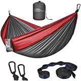 Forbidden Road Hammock Double Camping Portable Parachute Hammock for Outdoor Hiking Travel Backpacking - 210D Nylon Taffeta Hammock Swing - Support 660lbs (Double - Grey & Red)