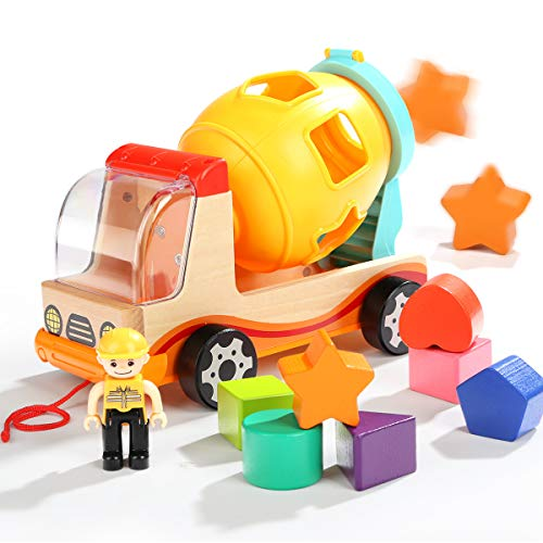 TOP BRIGHT Shape Sorter Toys for Toddlers - Dump Trucks Wooden Toys for 2 3 Year Old Preschool Boys Girls Gifts]()