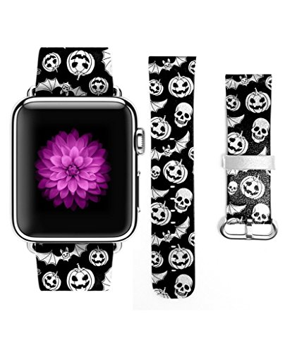 3C-LIFE Apple Watch Band Series 4Series1/2/3 Edition/Hermès/Nike+42mm Women for Apple iWatch,Genuine Leather Strap Wrist Band Replacement for Apple Watch All Models 42mm-Halloween Bat Pumkin and Skull