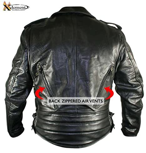 Xelement B7210 Cool Rider Mens Black Vented Leather Motorcycle Jacket 2X-Large B7210-Jacket-42597