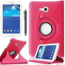 Samsung Galaxy Tab 3 Lite 7.0 SM-t110 Case,Galaxy Tab3 7 Case,360 Rotating Leather Stand Case Cover for Samsung Galaxy Tab 3 7-inch Tablet Case with Stand+ Screen Protector + Stylus,Rose