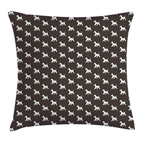 HFYZT Scottie Dog Throw Pillow Cushion Cover, Silhouettes of Adult White Scottish Terrier Figures Repeating Pattern, Decorative Square Accent Pillow Case, 18 X 18 Inches, Taupe and White