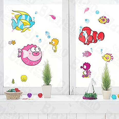Tropical Fish   Wall Decals Stickers Appliques Home Decor