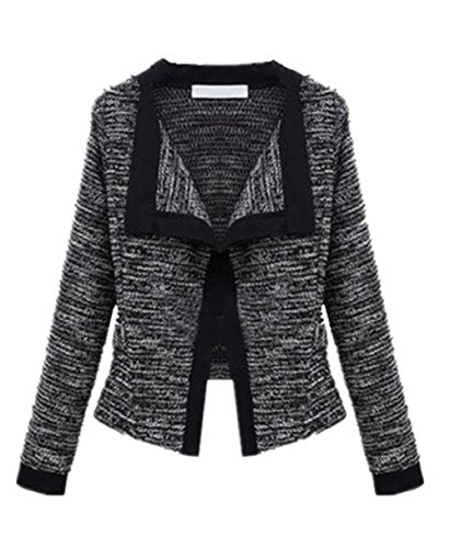 Black Elegante Knitted Mujer Chaqueta Ocasionales Top Outwear Sudaderas Vintage AILIENT Larga Outwear Coat Jacket Cardigan Manga Hipster qagwtYA