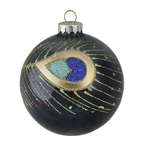 "Northlight 4"" (100mm) Regal Peacock Glittered Peacock Feather Black Glass Ball Christmas Ornament"