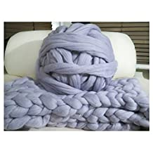 100% Non-Mulesed Chunky Wool Yarn Big chunky Yarn Massive Yarn Extreme Arm Knitting Giant Chunky Knit Blankets Throws Grey White (0.5kg, grey)