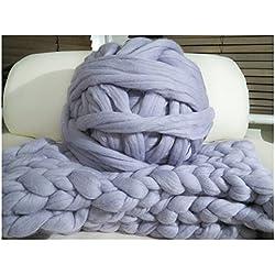 100% Non-Mulesed Chunky Wool Yarn Big chunky Yarn Massive Yarn Extreme Arm Knitting Giant Chunky Knit Blankets Throws Grey White (1kg, grey)