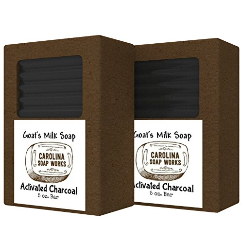 Activated Charcoal Goat Milk Soap, All Natural Handmade Charcoal Bar Soap With Organic Oils, Perfect for Acne Prone and Oily Skin, Long-Lasting (2 pack- 5.0 oz/bar)