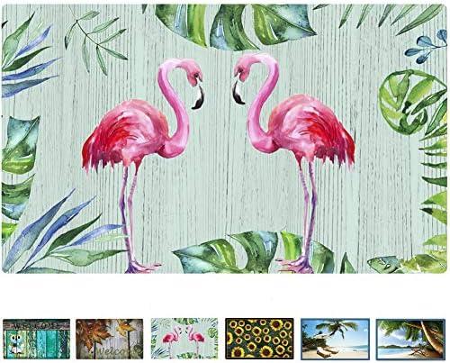 Rubber Welcome Door Mat, Decorative Indoor Outdoor Doormat Non Slip Front Door Mat, Easy to Clean Low Profile Mat for Entry Patio Garage High Traffic Areas, 17.3 x 29 Flamingo