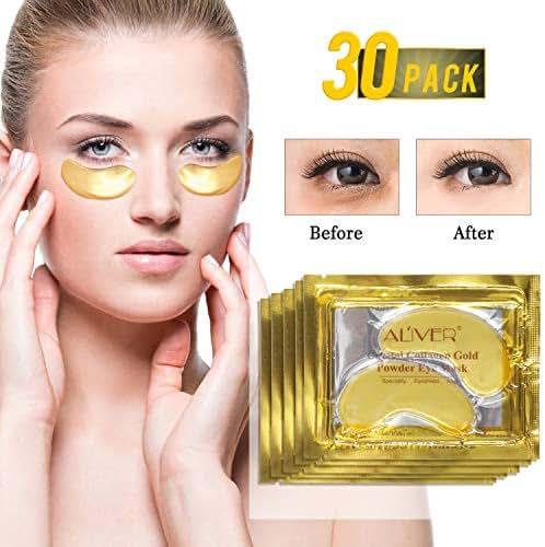 24K Gold Gel Collegan Eye mask, Luxury Crystal remium Anti Aging eye pad, Anti Wrinkle Products with Hyaluronic Acid, Moisturiser for Under Eye Wrinkles, Eye Bag Removal (30pair)