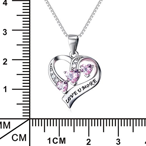 YFN Engraved Love You More Sterling Silver Pink Jewelry Crystal Eternity Heart Necklace (Pink Heart) by YFN (Image #1)'