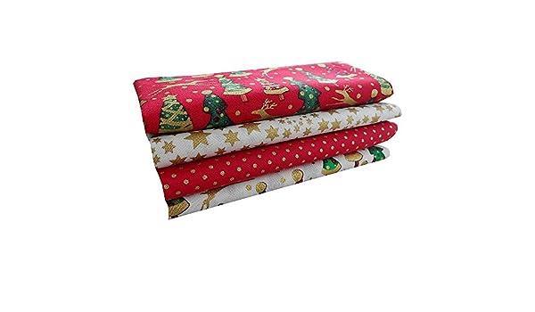 Paquete de tela navideña de algodón para manualidades Christmas Cotton, diseño de árbol de Navidad, lunares y mix de estrellas: Amazon.es: Hogar