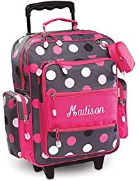 "Personalized Rolling Luggage for Kids – Grey Multi-Dots Design, 20""H x 12"" x 5"", By Lillian Vernon"
